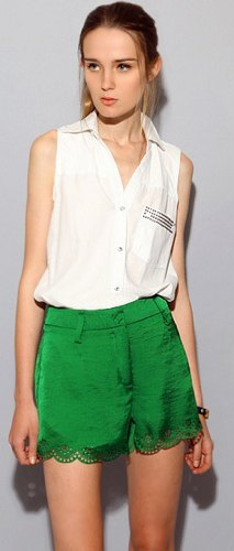 white sleeveless shirt green silk shorts and lace scalloped