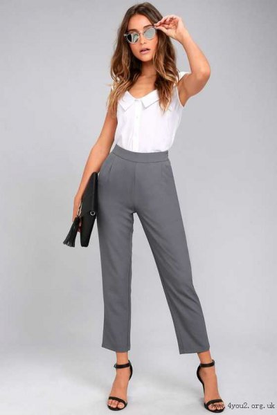 white sleeveless shirt with gray, cropped suit trousers