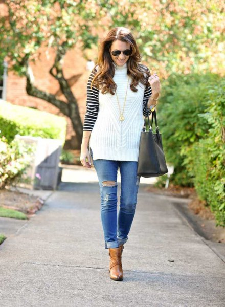 white sleeveless sweater black and white striped t-shirt