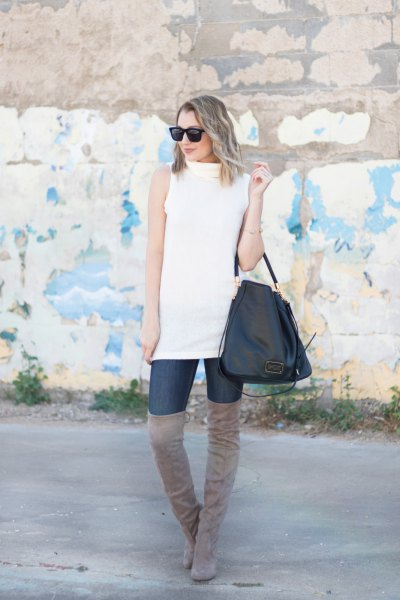white sleeveless sweater, gray over-the-knee suede boots