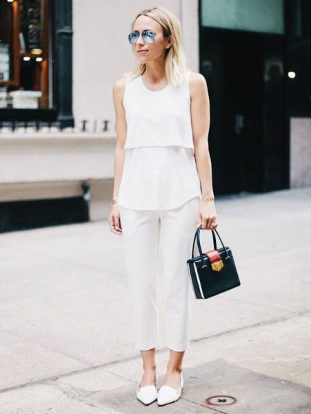 white sleeveless top with shortened linen trousers