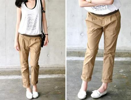 white sleeveless top with light brown chinos