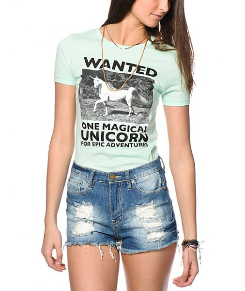 white t-shirt with slim fit print and ripped denim mini shorts