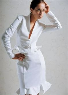 white slim fit suit jacket with midi dress with frilled hem