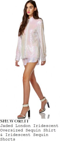 white, sparkling, oversized shirt with zipper and matching mini-shorts