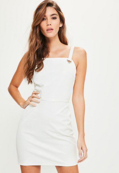 white leather mini dress with square neck