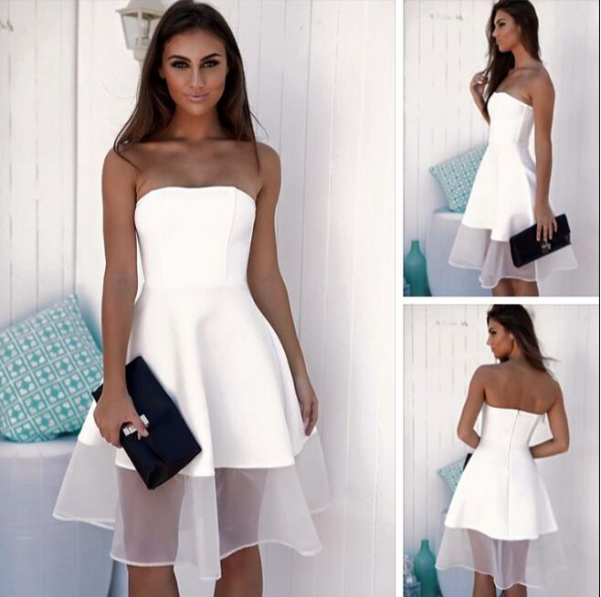 White Strapless Short Party Dress A.. | Homecoming dresses short .