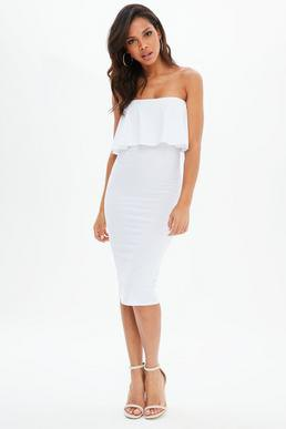 white strapless, figure-hugging midi dress with pleated shoulder