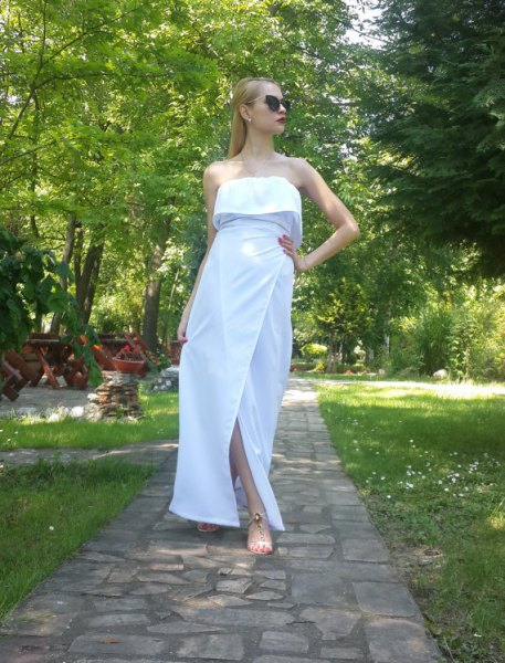 white strapless maxi cotton dress with folded shoulder