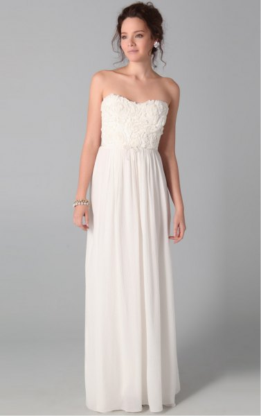 white strapless maxi dress with pleats