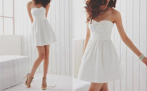 white strapless sweetheart neckline fit and flared mini dress