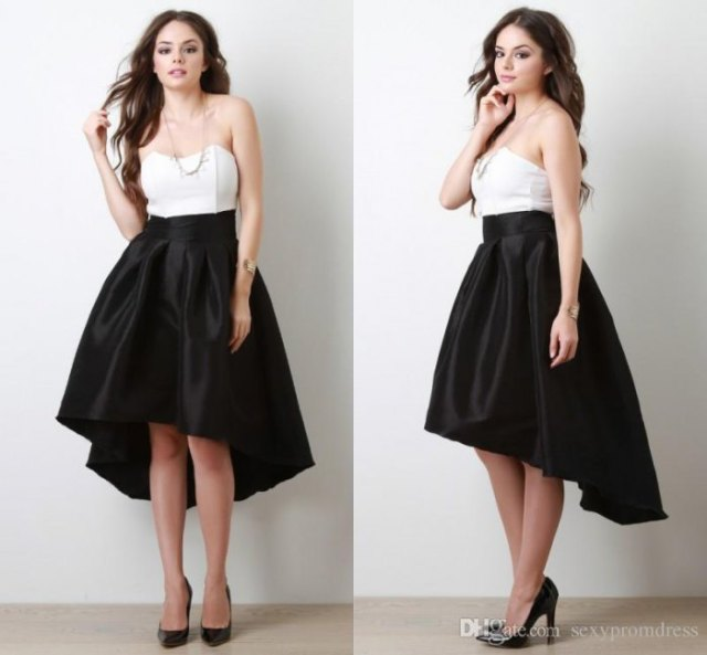 white strapless top black silk skirt with low flare