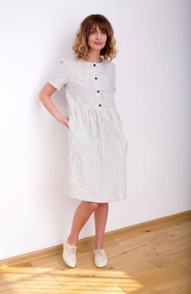 white striped knee-length dress with buttons