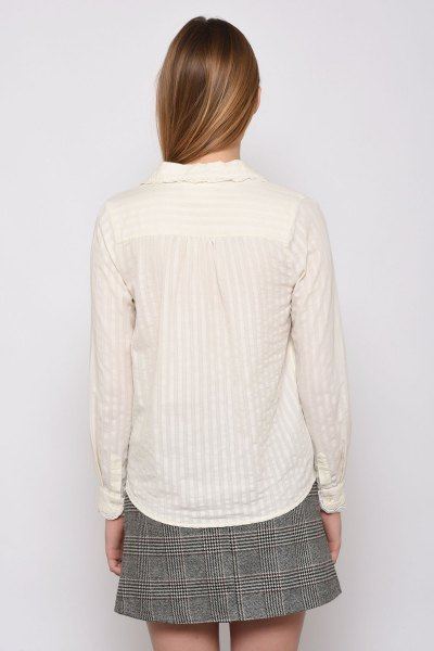 white striped lace shirt tweed minirater skirt