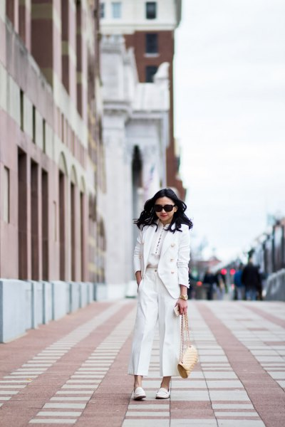 white suit with matching leather shoes