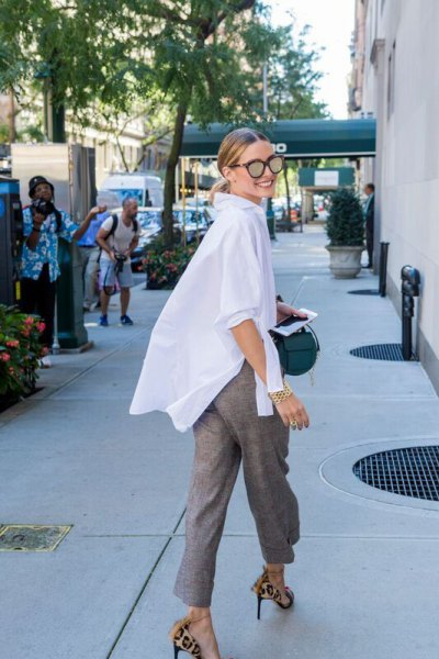 white super oversized shirt with gray short-cut chinos