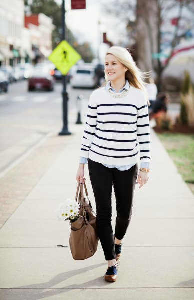 white sweater black stripes brown oxford shoes