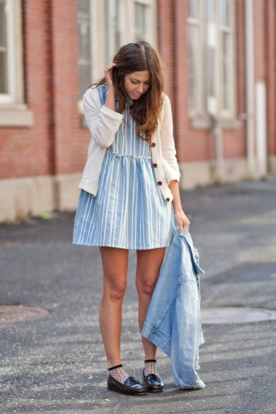 white cardigan with blue and white striped mini hangover dress