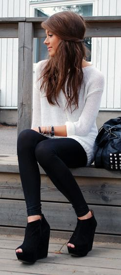 white sweater dress with leggings and black wedge boots with open toes