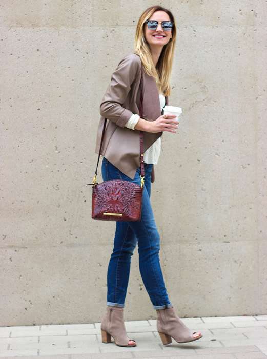 white sweater leather jacket open toe boots
