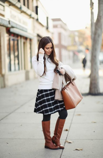 white sweater plaid skirt knee high boots
