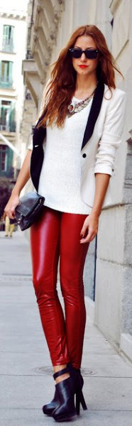 white sweater with tailored blazer and leather gaiters