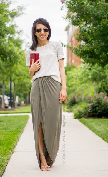 white sweater with green maxi slit skirt