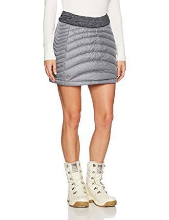 white sweater with light gray down skirt