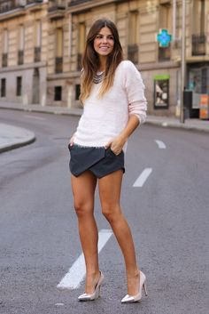 white sweater with mini skirt and silver heels
