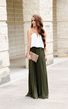 white top with sweetheart neckline and green maxi pleated skirt
