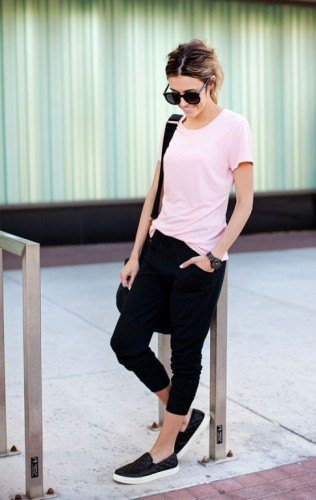 white t-shirt with black jogger pants and slip on canvas hiking boots