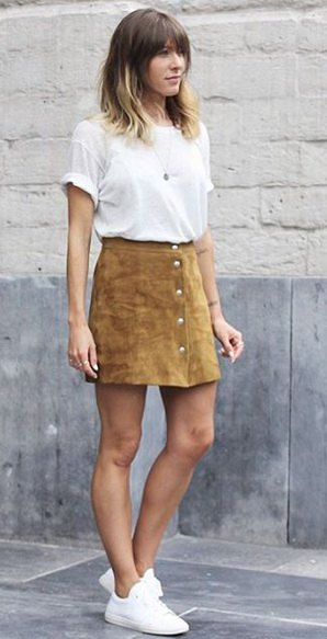 white t-shirt with mini skirt with camel button front