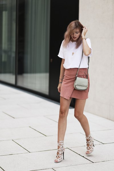 white t-shirt with crepe wrap mini dress with blushing pink cutouts