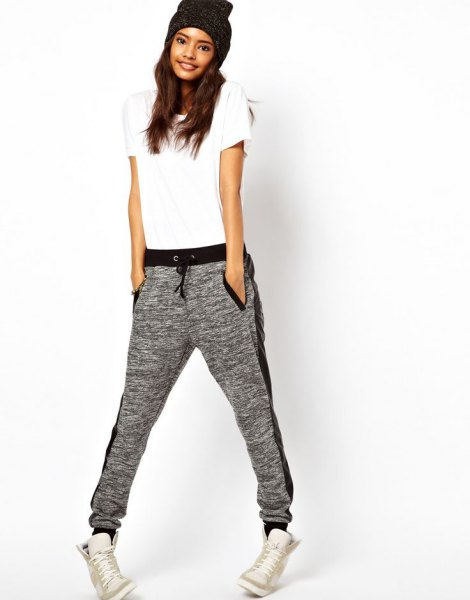 white t-shirt with gray hat and matching jogger pants