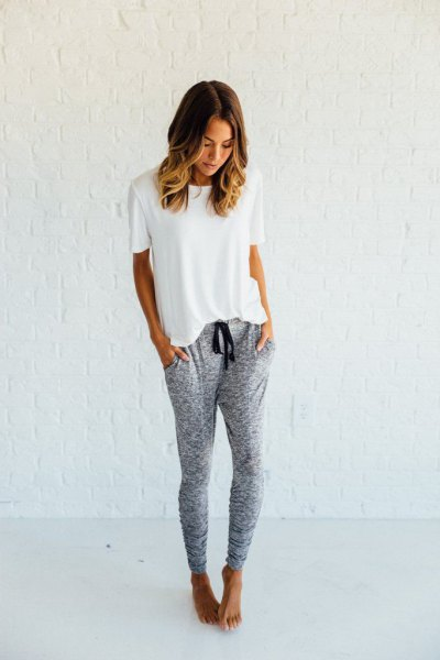 white t-shirt with gray jogger sweatpants