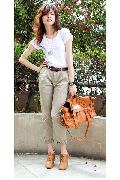white t-shirt with light brown chinos with cuffs