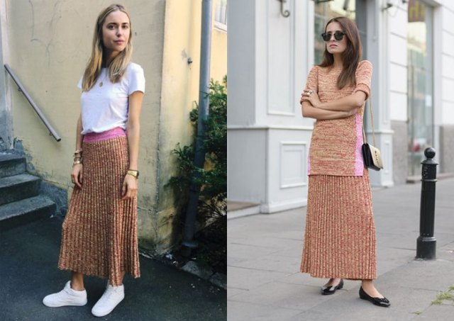 white t-shirt with light green maxi knit shift skirt
