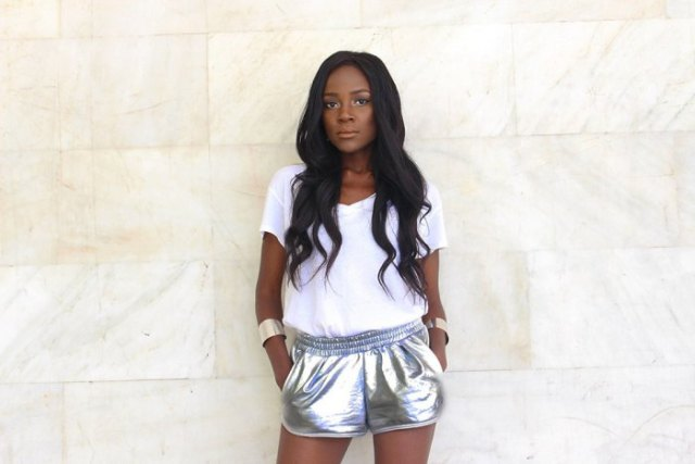 white t-shirt with silver metallic running shorts