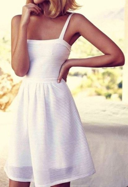 white tank fit and flared striped cotton midi dress