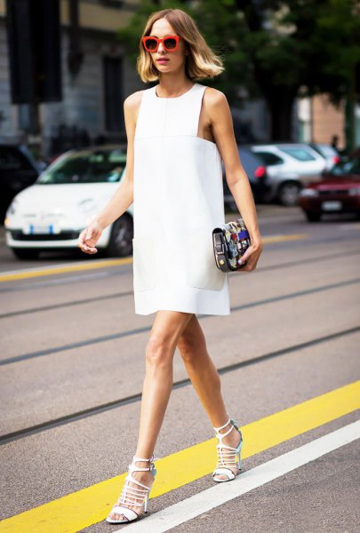 white tank shift mini dress with high-heeled lace-up sandals