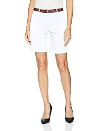 white tank top with knee-length chino shorts with belt