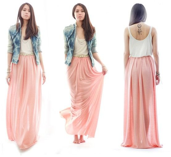 white tank top with blue washed denim jacket and blushing floor-length, flowing skirt