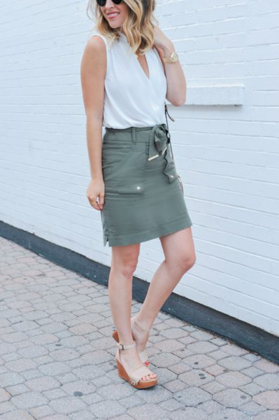 white tank top with gray cargo high-rise mini skirt