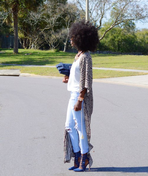white tank top with maxi tribal printed cape and jeans pocket