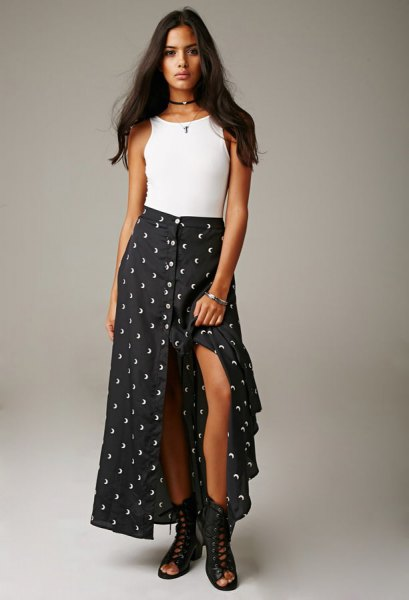 white tank top with dotted maxi skirt with high slit