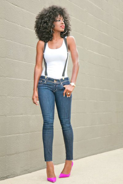white tank top with suspender skinny jeans