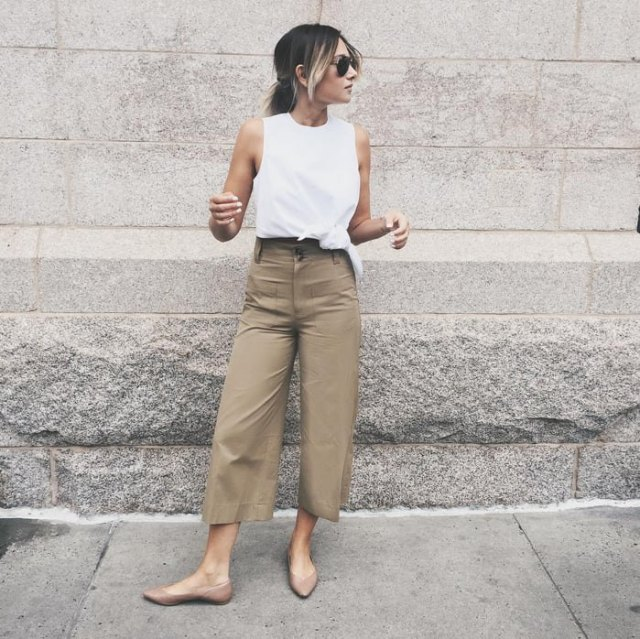 white tank top with wide-cut trousers
