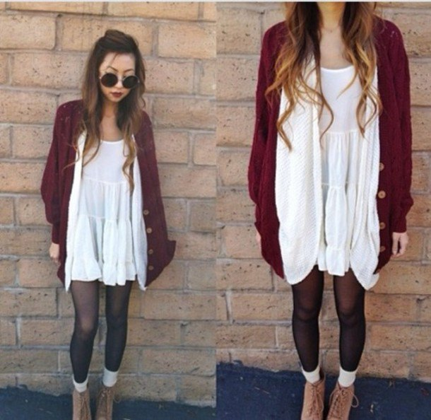 white tank tunic dress with dark red cardigan and stockings
