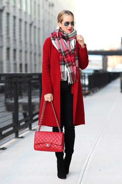 white tartan scarf red long wool coat