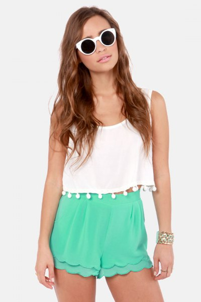 white, cropped tank top with tassel, gray shiffon shorts with high waist